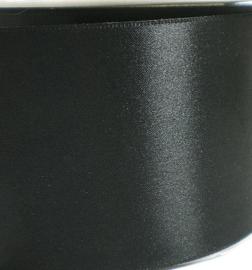 Satijnlint zwart 7 cm