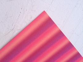 Regenboog glitter leer roze/zalm  20x22 cm