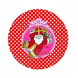 Flatback  Sint Fuchsia & rode polkadot (K015)
