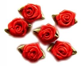 Roosjes met groen blad rood 2,5cm