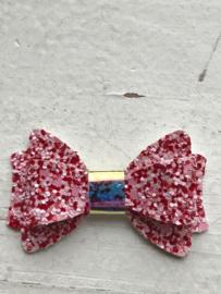 Glitter strik rood/roze 5.5cm