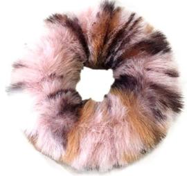 Scrunchie Haarwokkel fluffy  tijger roze