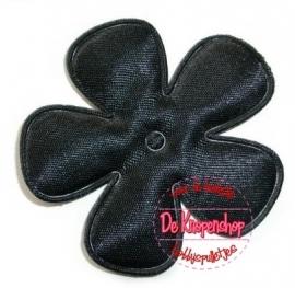 Satijnen bloem zwart 3,5 cm