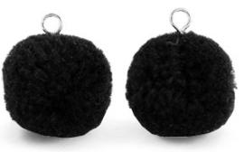 Pompom zwart met oog zilver