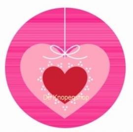 Flatback  hartje rood & roze