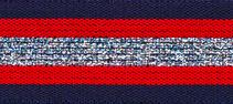 Elastisch band  gestreept donker blauw-rood met zilver glitter 3 cm