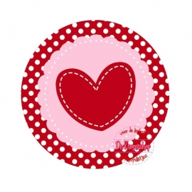 Flatback hartje donker rood polkadot