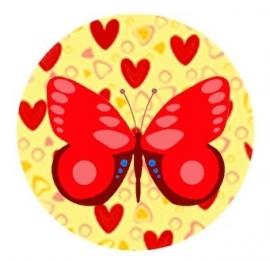 Flatback vlinder hart/vlinder rood