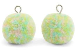 Pompom groen/blauw/roze mix met oog zilver