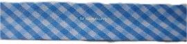 Biasband licht blauw ruitje 1,8cm