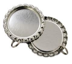 Bottlecap hanger zilver met ringetje pst
