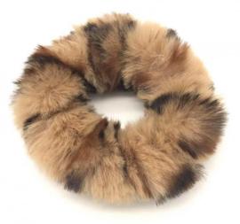 Scrunchie Haarwokkel fluffy  tijger bruin