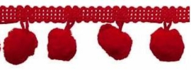 Pompomband rood 2cm