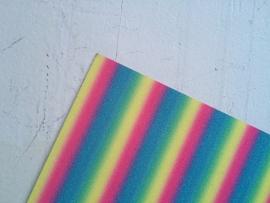 Regenboog glitter leer vrolijk 20x22 cm