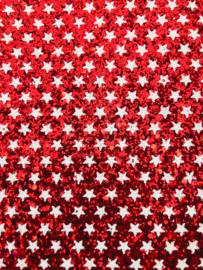 Glitter leer sterren rood/wit