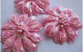 Bloem roze pailletten 5 cm