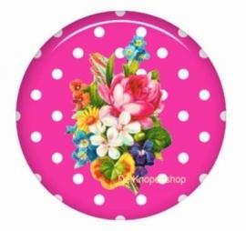 Flatback bloemen polka dot fuchsia (k128)