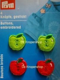 Geborduurde knoopjes appeltjes