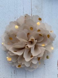 Bloemen chiffon 10 cm beige polkadot goud