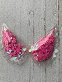 Vleugel PVC transparant ster pailletjes roze
