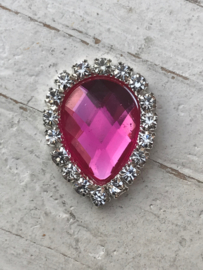 Flatback rhinestone druppel hot pink