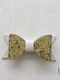 Strik  leer/glitter 7 cm goud/wit
