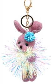 Tas/Sleutelhanger Glitter Bunny Roze