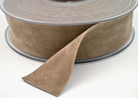 Velvet/fluweel band taupe dubbelzijdig  2.5cm