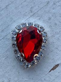 Flatback rhinestone druppel luxe rood spiegelend 2.3cm