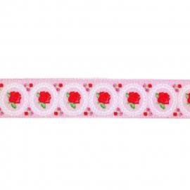 Sierband roosjes  & wit rondje, roze