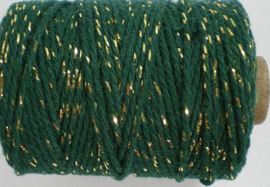 Cotton cord lurex groen/goud