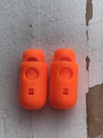 Koordstopper zwart Cilinder neon oranje