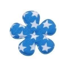 Bloem aqua met witte sterren 3,5 cm
