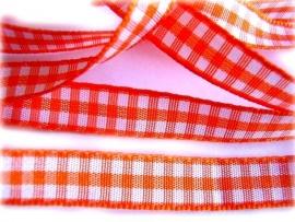 Oranje/wit ruitje satijn 1cm