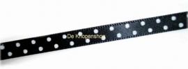Satijnband zwart met stippen 6mm