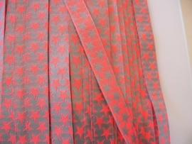 Sterrenband neon pink/oranje-zilver grijs tweezijdig