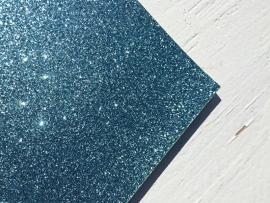 Glitter Leer Blauw 20x22 cm