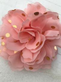 Bloemen chiffon 10 cm zalm polkadot goud