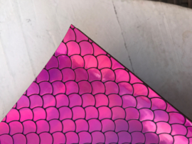 Zeemeermin staart patroon leer roze/zwart