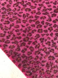 Leer/stof velvet  panter/tijger hot pink 20x30 cm