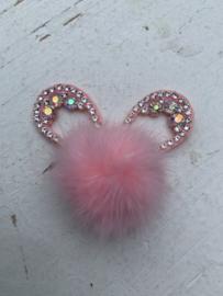 Konijnenoren met strass fluffy  licht roze