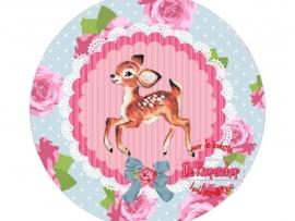 Flatback hertje & roosjes roze & blauw(k884)
