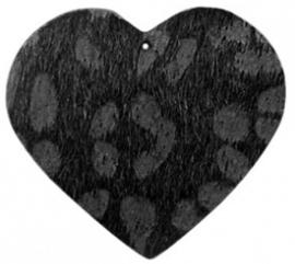 Hanger pu leer  hart harig met tijgerprint zwart antraciet
