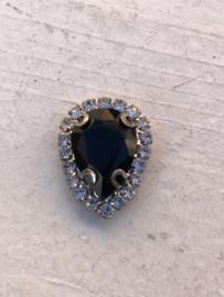 Flatback rhinestone druppel luxe zwart 2.3cm