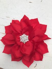 Luxe bloem satijn met ster strass rood