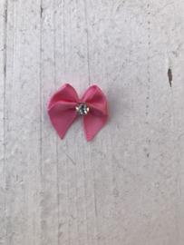 Strikje roze  satijn met strass diamant
