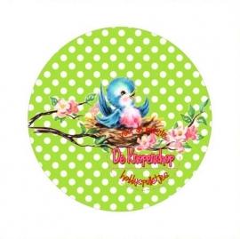 Flatback  vogeltje polkadot lime (k636)