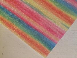 Regenboog glitter leer groen/geel/blauw/roze   21x29 cm