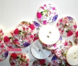 KN557b Parelmoer bloemen roze & paars