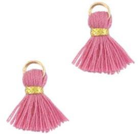Kwastje Ibiza/bohemian  style 1.5cm Gold-poeder roze